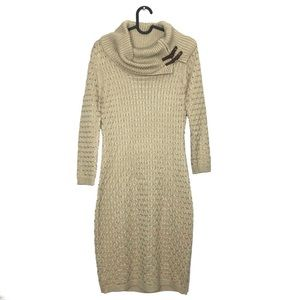 Calvin Klein Buckled Cowl Neck Sweater Dress Small